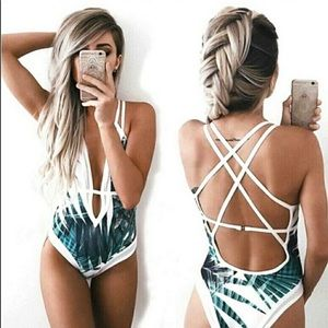 Other - Sexy Green & White Deep Plunge Palm Leaf Swimsuit